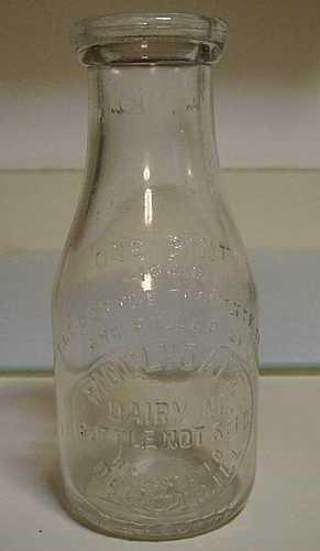 DECATUR IL RIDGLYDALE DAIRY INC. PINT MILK BOTTLE C. 1940 EXCELLENT HTF