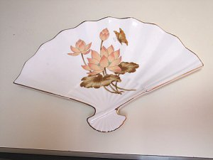 OLD FAN SHAPED PLATE WITH LOTUS FLOWERS MARKED JAPAN
