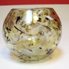 HAND BLOWN ART GLASS BOWL VIZ GLASS COMPANY UNIQUE ONE OF A KIND SWIRLS AND PETALS