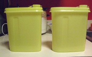 Two Vintage Yellow Tupperware Storage Canister Containers w Pour Spouts One Quart Capacity Each