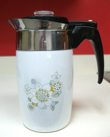 Corning Ware Floral Bouquet Electric Coffee Pot Percolator Six Cup Corningware Works NO Cord Vintage