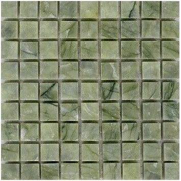 Loose Polished Vegetable Green Marble Mosaic Tesserae 7mm Thick