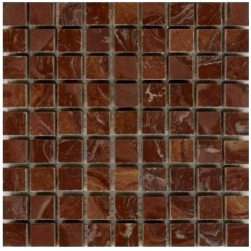 Loose Polished Brown Red Marble Mosaic Tesserae 7mm Thick