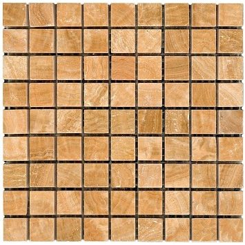 Loose Polished Yellow Woodvein Marble Mosaic Tesserae 7mm Thick