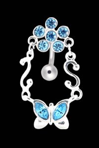 Butterfly & Flower Belly Button Ring