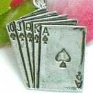 925 STERLING SILVER ROYAL FLUSH POKER CARDS CHARM / PENDANT