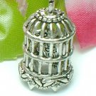 925 STERLING SILVER BIRDCAGE WITH BIRDIE ON STAND CHARM / PENDANT