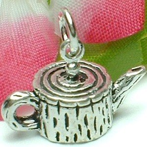 925 STERLING SILVER TREE TRUNK TEAPOT CHARM / PENDANT