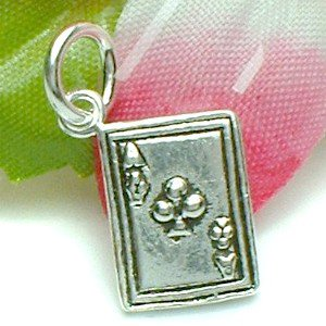925 STERLING SILVER ACE OF CLUB POKER CARD CHARM / PENDANT