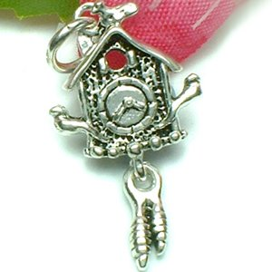 925 STERLING SILVER CUCKOO CLOCK (MOVE) CHARM / PENDANT