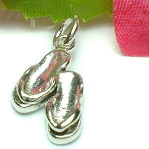 925 STERLING SILVER FLIP FLOP SLIPPERS CHARM / PENDANT