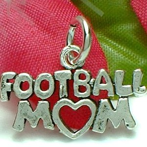 925 STERLING SILVER FOOTBALL MOM CHARM / PENDANT