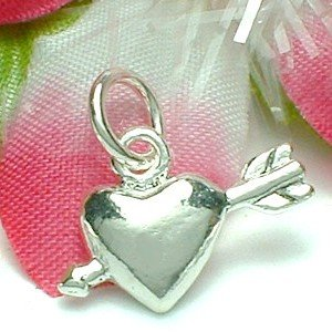 925 STERLING SILVER PUFFED HEART WITH CUPID ARROW CHARM / PENDANT