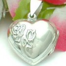925 STERLING SILVER HEART WITH ROSE PHOTO LOCKET / PENDANT