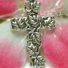925 STERLING SILVER CROSS WITH LEAVES CHARM / PENDANT