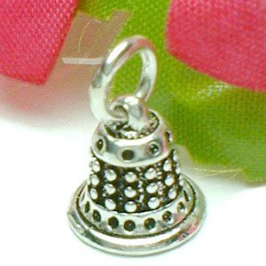 925 STERLING SILVER CHURCH BELL CHARM / PENDANT