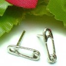 925 STERLING SILVER SAFETY PIN STUD EARRINGS