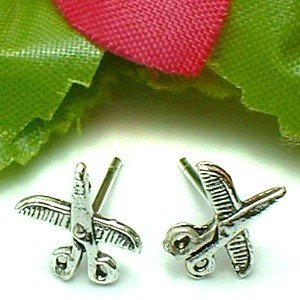 925 STERLING SILVER SCISSOR AND COMB STUD EARRINGS