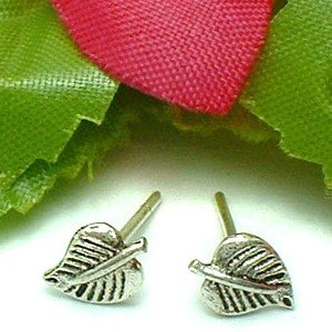 925 STERLING SILVER ASPEN LEAF STUD EARRINGS