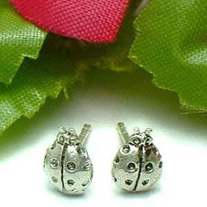 925 STERLING SILVER LADYBUG / LADYBIRD STUD EARRINGS