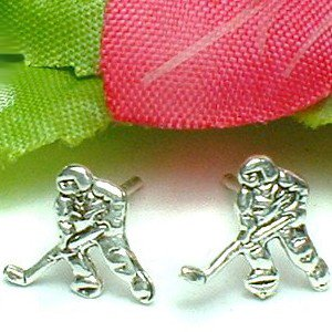 925 STERLING SILVER ICE HOCKEY PLAYERS STUD EARRINGS