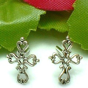 925 STERLING SILVER CROSS STUD EARRINGS
