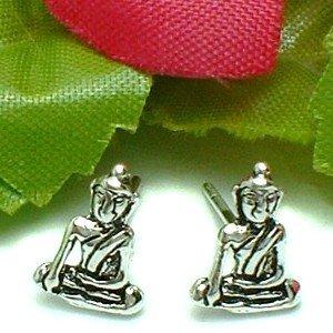 925 STERLING SILVER AMITABHA BUDDHA STUD EARRINGS