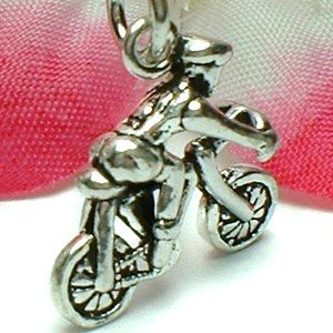925 STERLING SILVER SPEED BIKE AND RIDER CHARM PENDANT