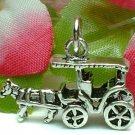 925 STERLING SILVER HORSE AND CARRIAGE CHARM / PENDANT