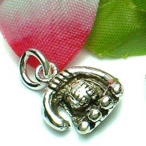 925 STERLING SILVER BASEBALL AND GLOVE CHARM / PENDANT