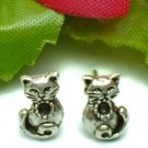 925 STERLING SILVER JEWEL KITTY CAT STUD EARRINGS
