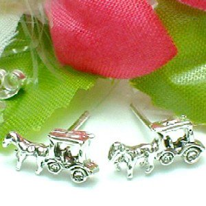 925 STERLING SILVER HORSE AND CARRIAGE STUD EARRINGS