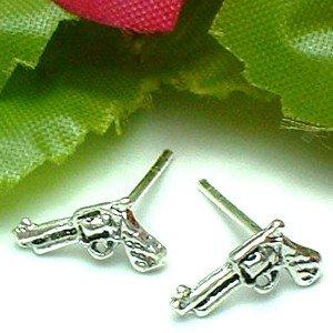 925 STERLING SILVER PISTOL GUN STUD EARRINGS