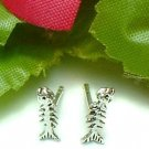 925 STERLING SILVER FISHBONE STUD EARRINGS