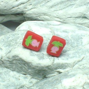 HAND CRAFTED BEADS OF FIMO STRAWBERRY STUD EARRINGS