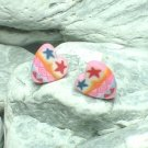 HAND CRAFTED BEADS OF FIMO STARS IN HEART STUD EARRINGS