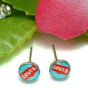 925 STERLING SILVER LEVI'S ACRYLIC TOPCOAT STUD EARRINGS