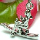 925 STERLING SILVER SNOW SKIING FEMALE SKIER CHARM / PENDANT