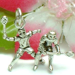 925 STERLING SILVER MALE BADMINTON PLAYERS CHARM / PENDANT