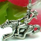 925 STERLING SILVER COWBOY ON GALLOPING HORSE CHARM / PENDANT