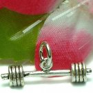 925 STERLING SILVER BARBELL WEIGHTLIFTER CHARM / PENDANT