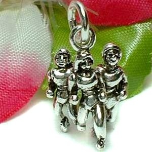 925 STERLING SILVER GROUP OF THREE FEMALE JOGGERS CHARM / PENDANT