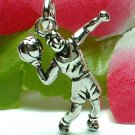 925 STERLING SILVER BASKETBALL MALE PLAYER CHARM / PENDANT