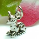 925 STERLING SILVER SITTING FAWN CHARM / PENDANT