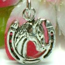 925 STERLING SILVER HORSE AND HORSESHOE CHARM / PENDANT
