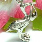 925 STERLING SILVER STORK CARRYING BABY CHARM / PENDANT