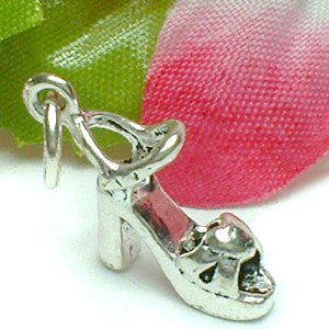 925 STERLING SILVER PLATFORM HEEL WITH HEART CHARM / PENDANT