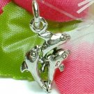 925 STERLING SILVER THREE DOLPHINS CHARM / PENDANT