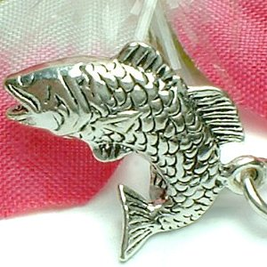 925 STERLING SILVER SALMON FISH CHARM / PENDANT