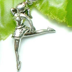 925 STERLING SILVER FEMALE BALLET DANCER CHARM PENDANT